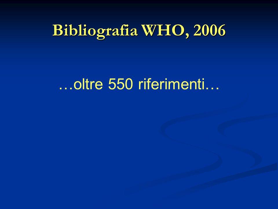 Bibliografia WHO, 2006 …oltre 550 riferimenti…