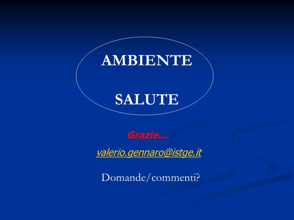 Grazie… valerio.gennaro@istge.it AMBIENTE SALUTE Domande/commenti?