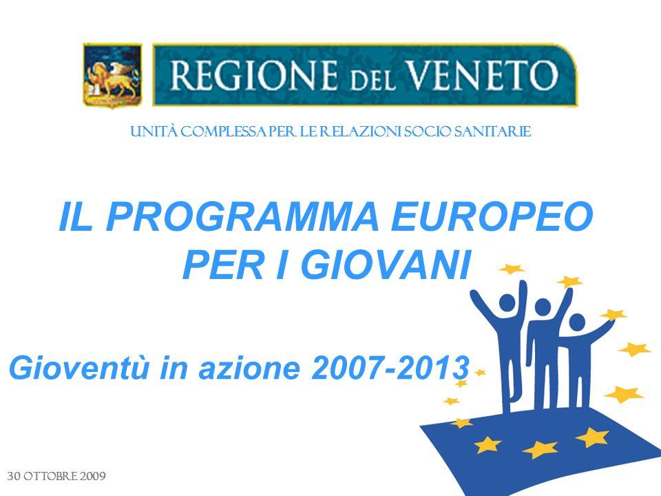 Unità Complessa per le Relazioni Socio Sanitarie IL PROGRAMMA EUROPEO PER I GIOVANI 30 ottobre 2009 Gioventù in azione 2007-2013