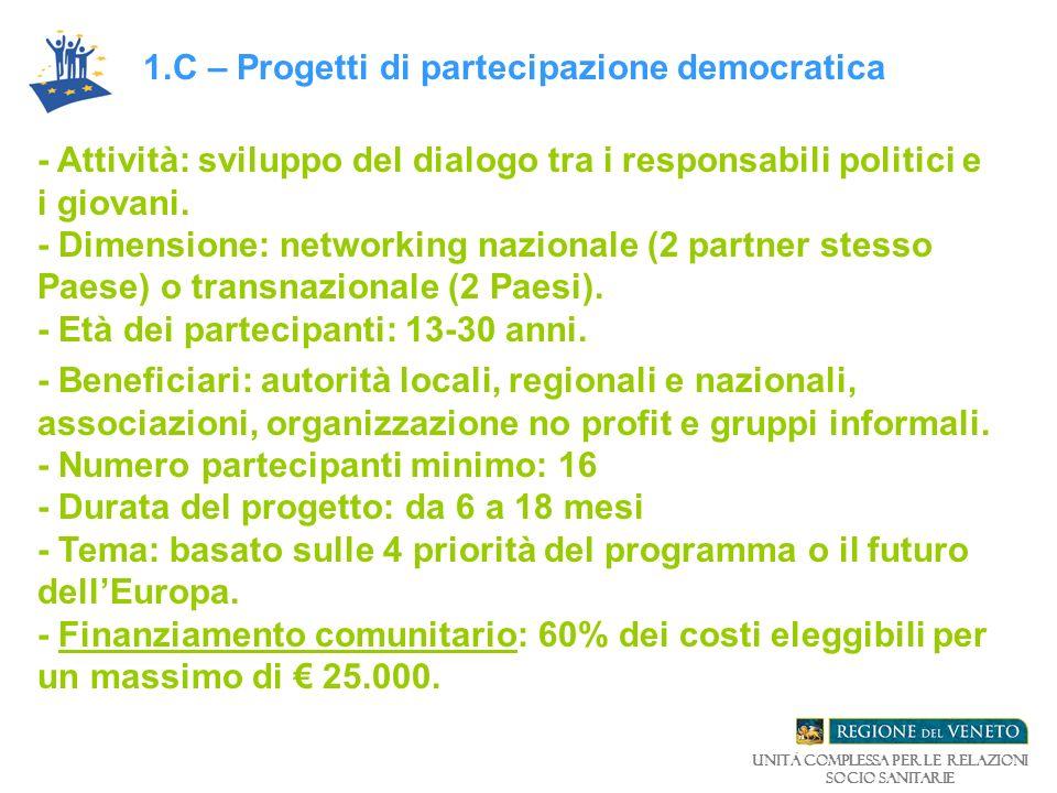 - Attività: sviluppo del dialogo tra i responsabili politici e i giovani.