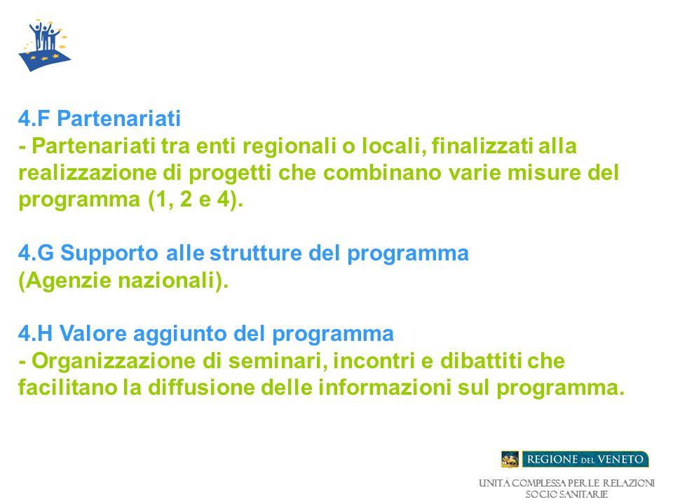 Unità Complessa per le relazioni Socio Sanitarie 4.F Partenariati - Partenariati tra enti regionali o locali, finalizzati alla realizzazione di progetti che combinano varie misure del programma (1, 2 e 4).