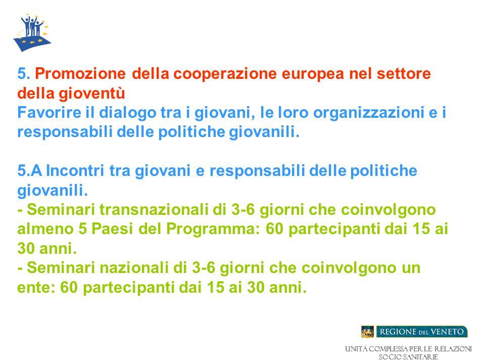 Unità Complessa per le relazioni Socio Sanitarie 5.