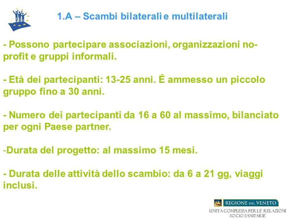 1.A – Scambi bilaterali e multilaterali - Possono partecipare associazioni, organizzazioni no- profit e gruppi informali.