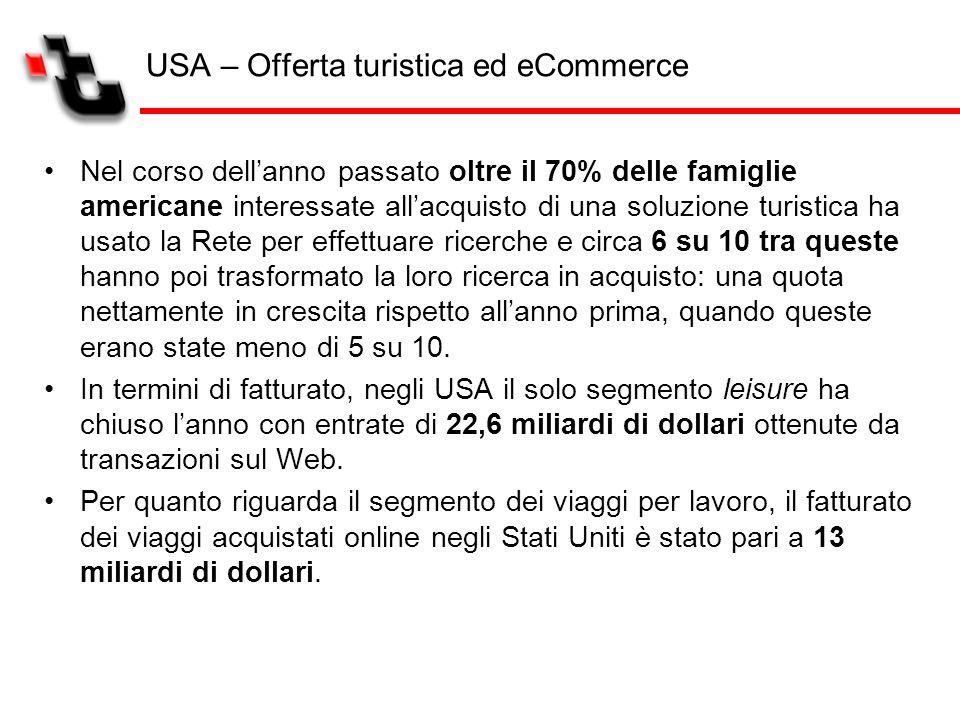 USA – Offerta turistica ed eCommerce Nel corso dellanno passato oltre il 70% delle famiglie americane interessate allacquisto di una soluzione turisti
