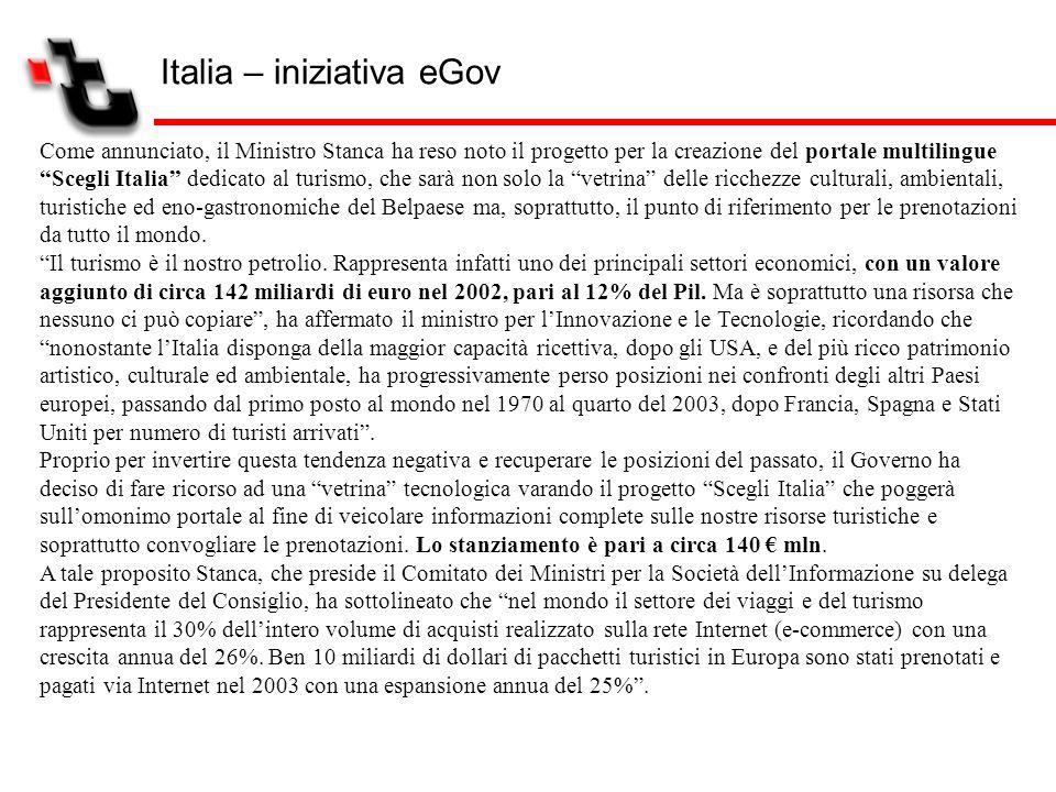Italia – iniziativa eGov Come annunciato, il Ministro Stanca ha reso noto il progetto per la creazione del portale multilingue Scegli Italia dedicato