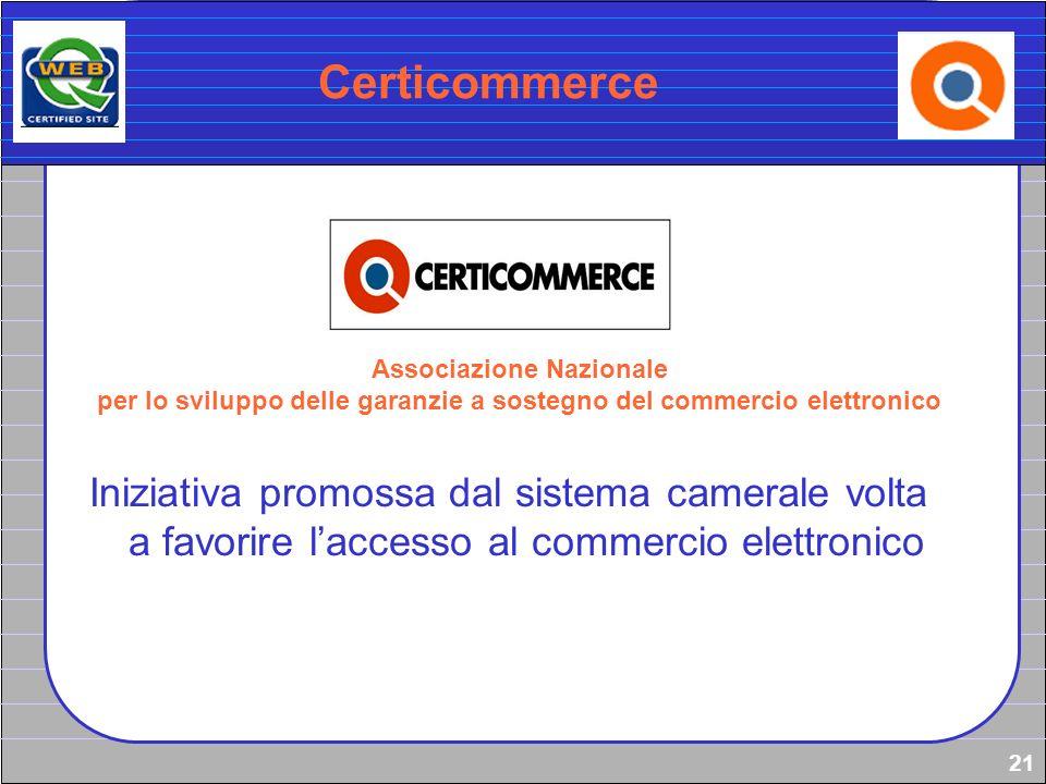 21 Certicommerce Associazione Nazionale per lo sviluppo delle garanzie a sostegno del commercio elettronico Iniziativa promossa dal sistema camerale v