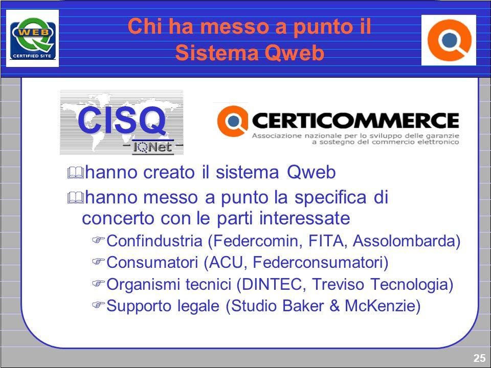 25 Chi ha messo a punto il Sistema Qweb hanno creato il sistema Qweb hanno messo a punto la specifica di concerto con le parti interessate Confindustr