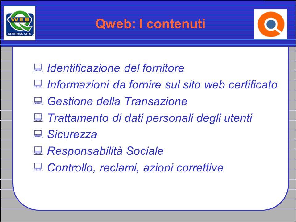 Qweb: I contenuti Identificazione del fornitore Informazioni da fornire sul sito web certificato Gestione della Transazione Trattamento di dati person