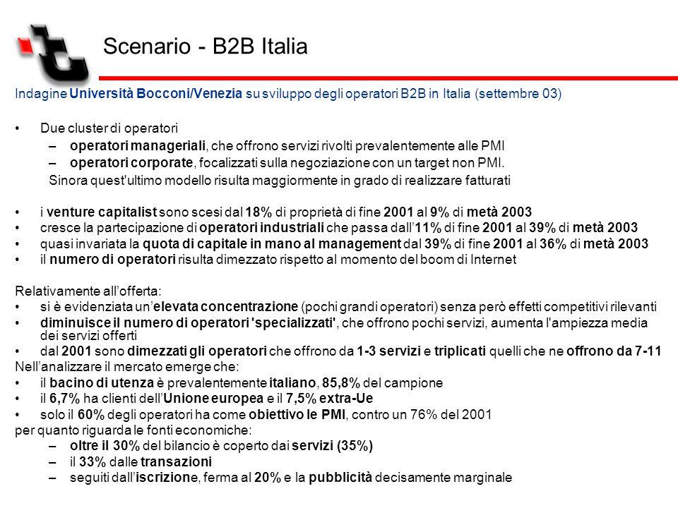 Indagine Università Bocconi/Venezia su sviluppo degli operatori B2B in Italia (settembre 03) Due cluster di operatori –operatori manageriali, che offr