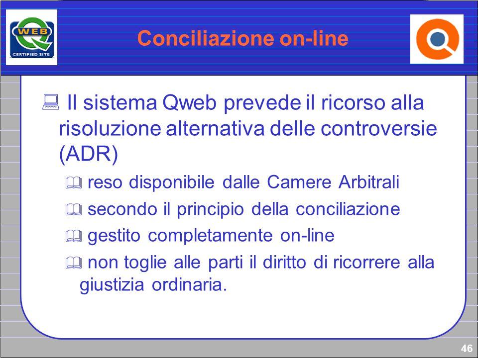 46 Conciliazione on-line Il sistema Qweb prevede il ricorso alla risoluzione alternativa delle controversie (ADR) reso disponibile dalle Camere Arbitr