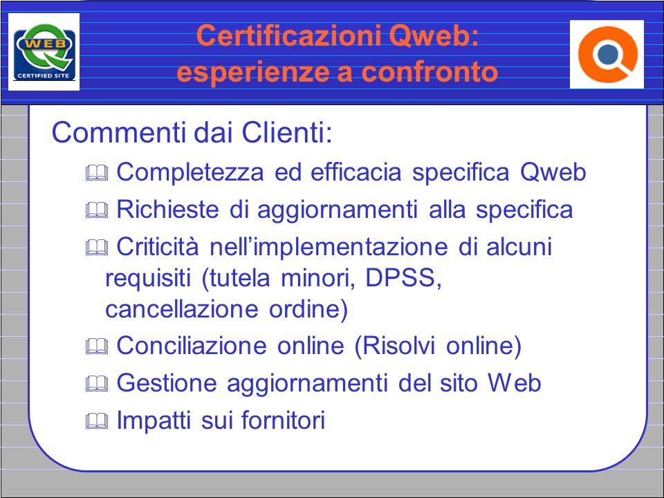 Certificazioni Qweb: esperienze a confronto Commenti dai Clienti: Completezza ed efficacia specifica Qweb Richieste di aggiornamenti alla specifica Cr