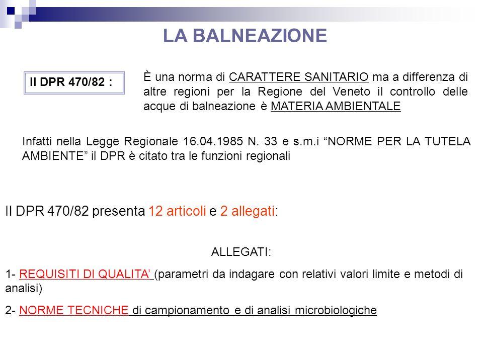 Il DPR 470/82 : È una norma di CARATTERE SANITARIO ma a differenza di altre regioni per la Regione del Veneto il controllo delle acque di balneazione