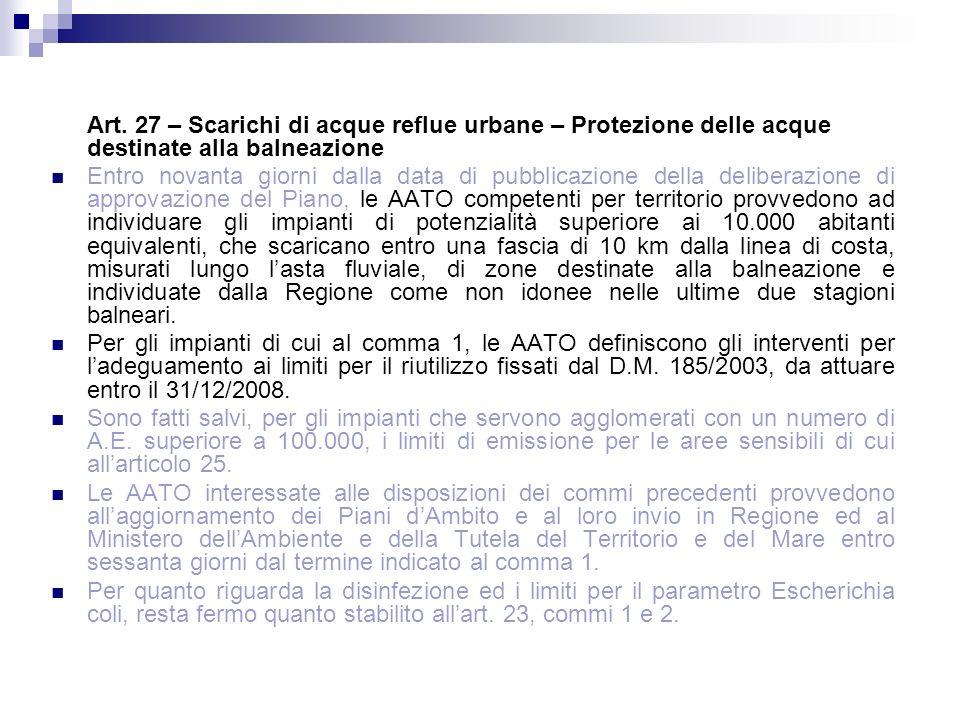 Art. 27 – Scarichi di acque reflue urbane – Protezione delle acque destinate alla balneazione Entro novanta giorni dalla data di pubblicazione della d