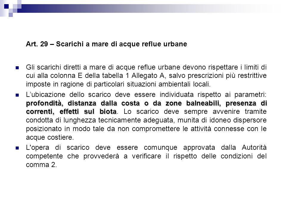 Art. 29 – Scarichi a mare di acque reflue urbane Gli scarichi diretti a mare di acque reflue urbane devono rispettare i limiti di cui alla colonna E d
