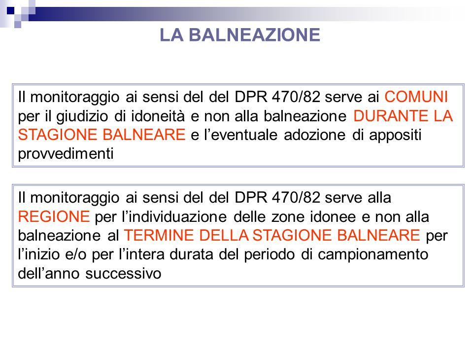 Il monitoraggio ai sensi del del DPR 470/82 serve ai COMUNI per il giudizio di idoneità e non alla balneazione DURANTE LA STAGIONE BALNEARE e leventua