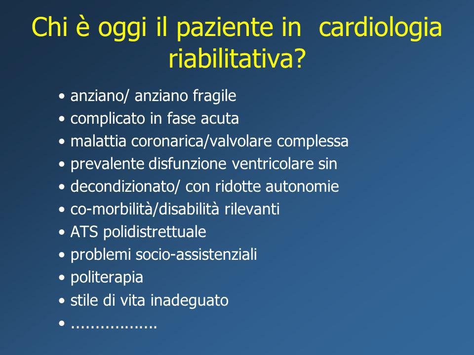 Chi è oggi il paziente in cardiologia riabilitativa? anziano/ anziano fragile complicato in fase acuta malattia coronarica/valvolare complessa prevale