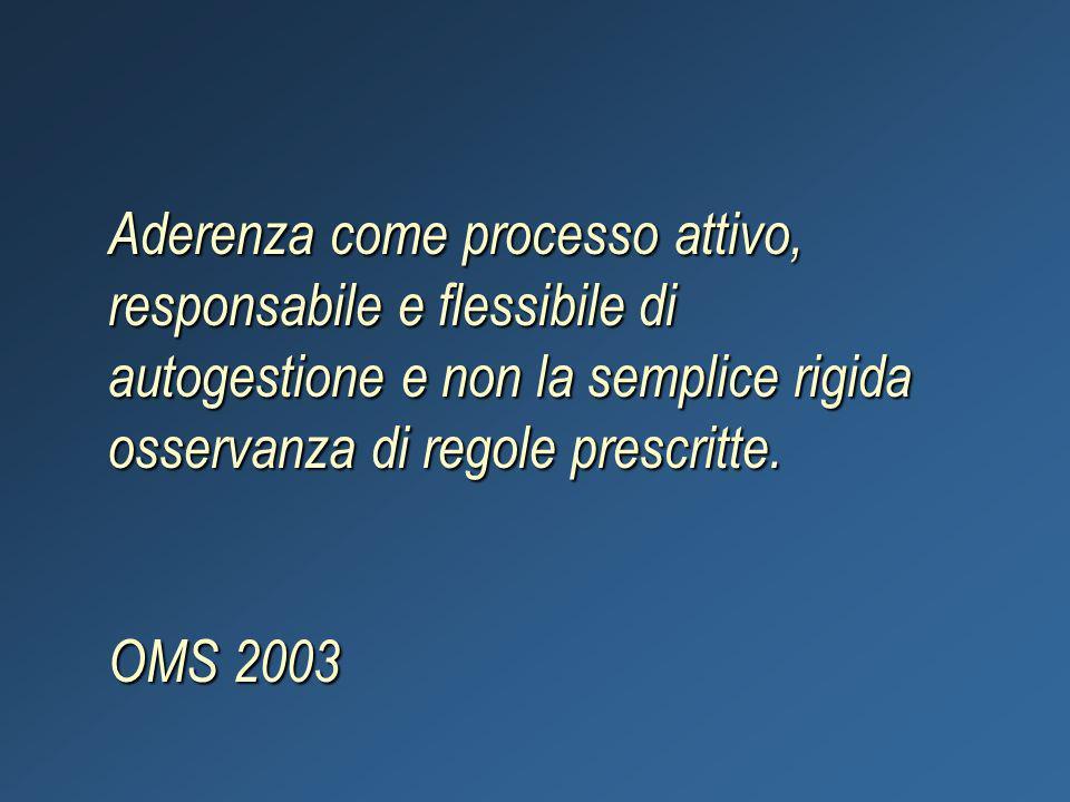 Aderenza come processo attivo, responsabile e flessibile di autogestione e non la semplice rigida osservanza di regole prescritte. OMS 2003
