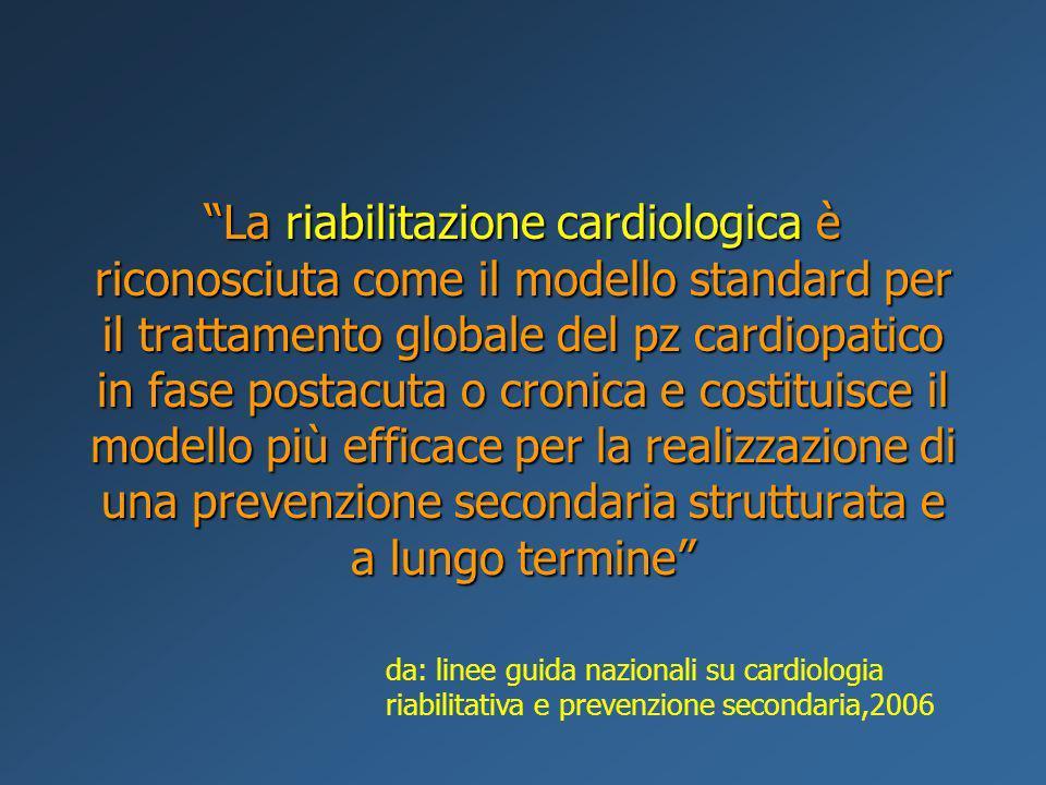 La riabilitazione cardiologica è riconosciuta come il modello standard per il trattamento globale del pz cardiopatico in fase postacuta o cronica e co