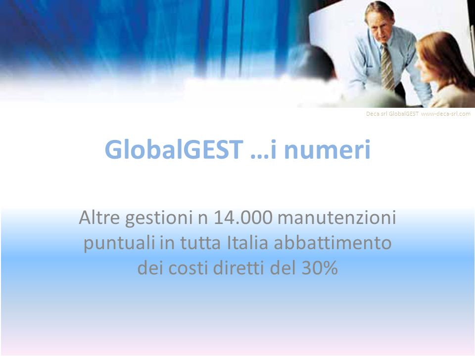 GlobalGEST …i numeri Altre gestioni n 14.000 manutenzioni puntuali in tutta Italia abbattimento dei costi diretti del 30% Deca srl GlobalGEST www-deca-srl.com