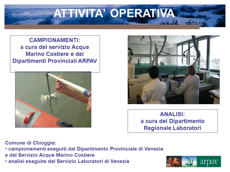 Attività di monitoraggio delle acque interne: avviata nel 1985 direttamente dalla Regione con il Piano per il rilevamento dei corpi idrici – PRQA e proseguita ed implementata da ARPAV.