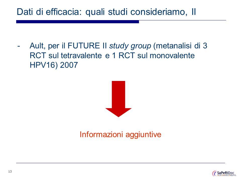 13 Dati di efficacia: quali studi consideriamo, II -Ault, per il FUTURE II study group (metanalisi di 3 RCT sul tetravalente e 1 RCT sul monovalente H