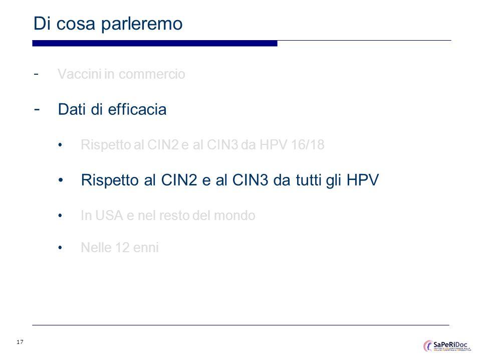 17 Di cosa parleremo - Vaccini in commercio - Dati di efficacia Rispetto al CIN2 e al CIN3 da HPV 16/18 Rispetto al CIN2 e al CIN3 da tutti gli HPV In