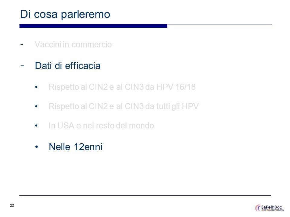 22 Di cosa parleremo - Vaccini in commercio - Dati di efficacia Rispetto al CIN2 e al CIN3 da HPV 16/18 Rispetto al CIN2 e al CIN3 da tutti gli HPV In