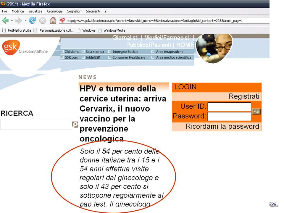 28 Il Pap test è poco usato…ve lo dico io… Solo il 54% delle donne italiane tra i 15 e i 54 anni effettua visite regolari dal ginecologo e solo il 43%