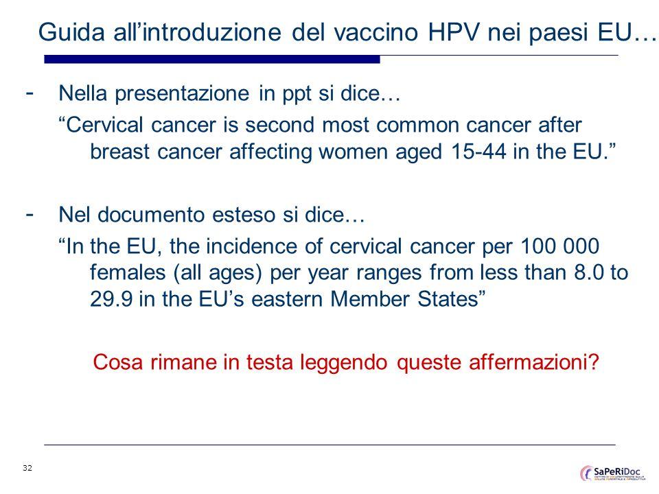 32 Guida allintroduzione del vaccino HPV nei paesi EU… - Nella presentazione in ppt si dice… Cervical cancer is second most common cancer after breast