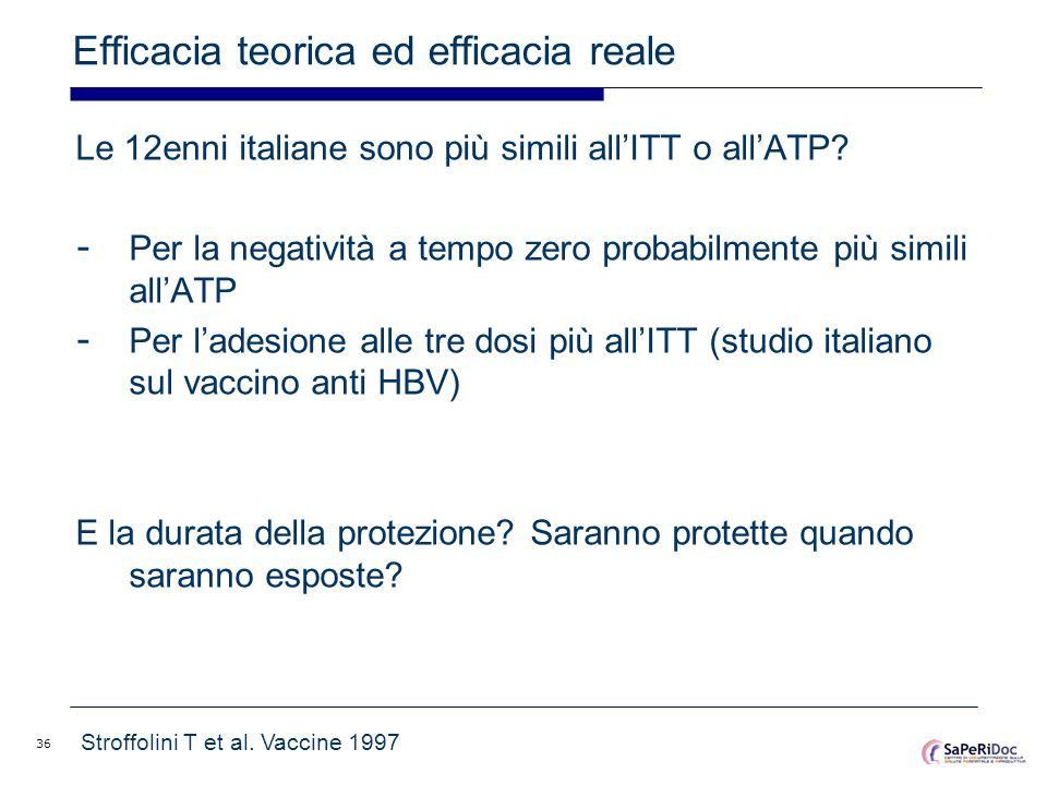 36 Efficacia teorica ed efficacia reale Le 12enni italiane sono più simili allITT o allATP? - Per la negatività a tempo zero probabilmente più simili