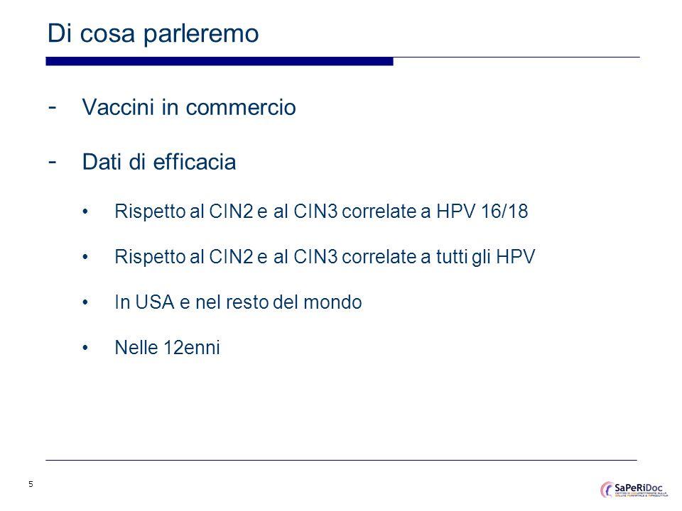 5 Di cosa parleremo - Vaccini in commercio - Dati di efficacia Rispetto al CIN2 e al CIN3 correlate a HPV 16/18 Rispetto al CIN2 e al CIN3 correlate a