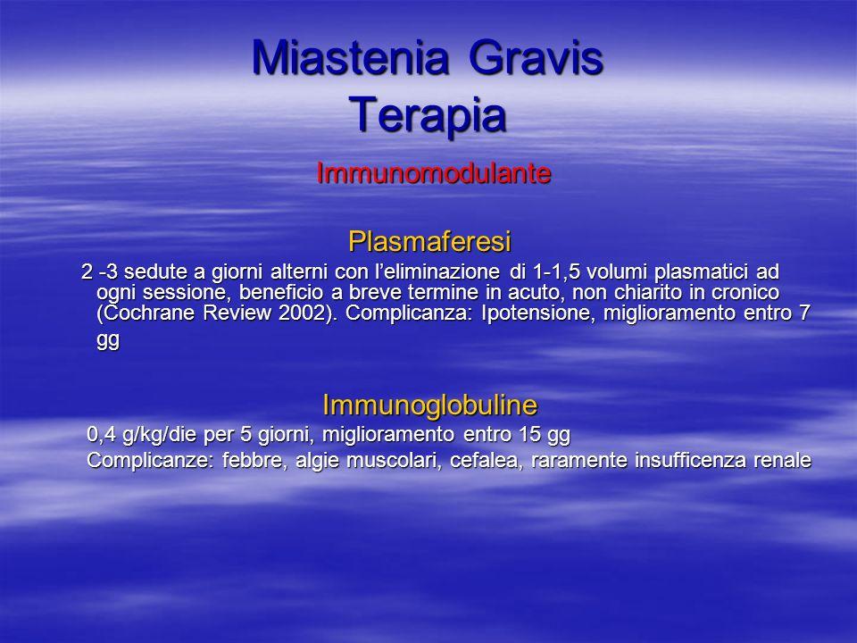 Miastenia Gravis Terapia Immunomodulante ImmunomodulantePlasmaferesi 2 -3 sedute a giorni alterni con leliminazione di 1-1,5 volumi plasmatici ad ogni sessione, beneficio a breve termine in acuto, non chiarito in cronico (Cochrane Review 2002).