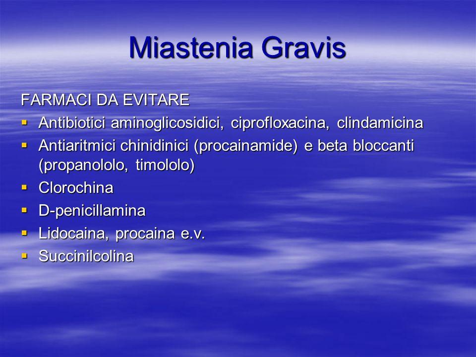 Miastenia Gravis FARMACI DA EVITARE Antibiotici aminoglicosidici, ciprofloxacina, clindamicina Antibiotici aminoglicosidici, ciprofloxacina, clindamicina Antiaritmici chinidinici (procainamide) e beta bloccanti (propanololo, timololo) Antiaritmici chinidinici (procainamide) e beta bloccanti (propanololo, timololo) Clorochina Clorochina D-penicillamina D-penicillamina Lidocaina, procaina e.v.