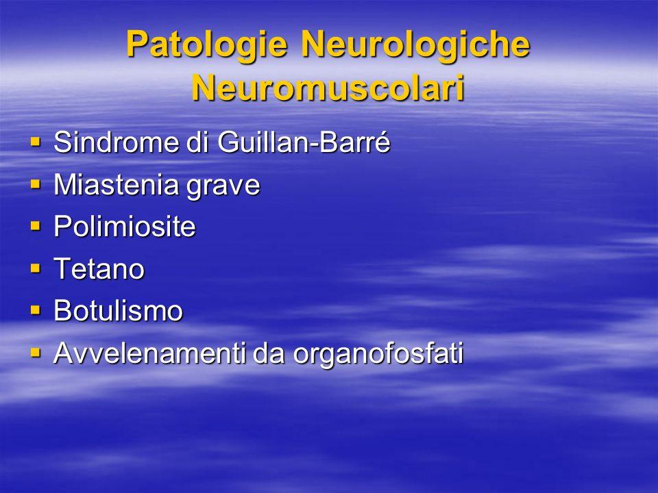 Patologie Neurologiche Neuromuscolari Sindrome di Guillan-Barré Sindrome di Guillan-Barré Miastenia grave Miastenia grave Polimiosite Polimiosite Tetano Tetano Botulismo Botulismo Avvelenamenti da organofosfati Avvelenamenti da organofosfati