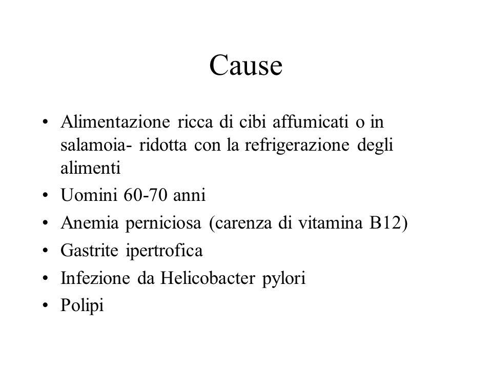 Cause Alimentazione ricca di cibi affumicati o in salamoia- ridotta con la refrigerazione degli alimenti Uomini 60-70 anni Anemia perniciosa (carenza