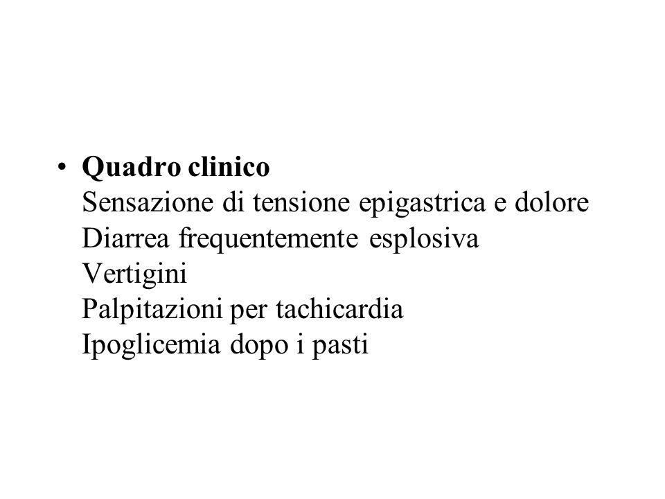 Quadro clinico Sensazione di tensione epigastrica e dolore Diarrea frequentemente esplosiva Vertigini Palpitazioni per tachicardia Ipoglicemia dopo i