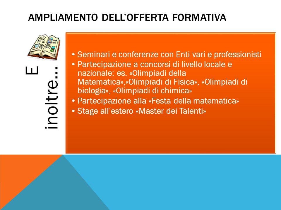 E inoltre… Seminari e conferenze con Enti vari e professionisti Partecipazione a concorsi di livello locale e nazionale: es. «Olimpiadi della Matemati