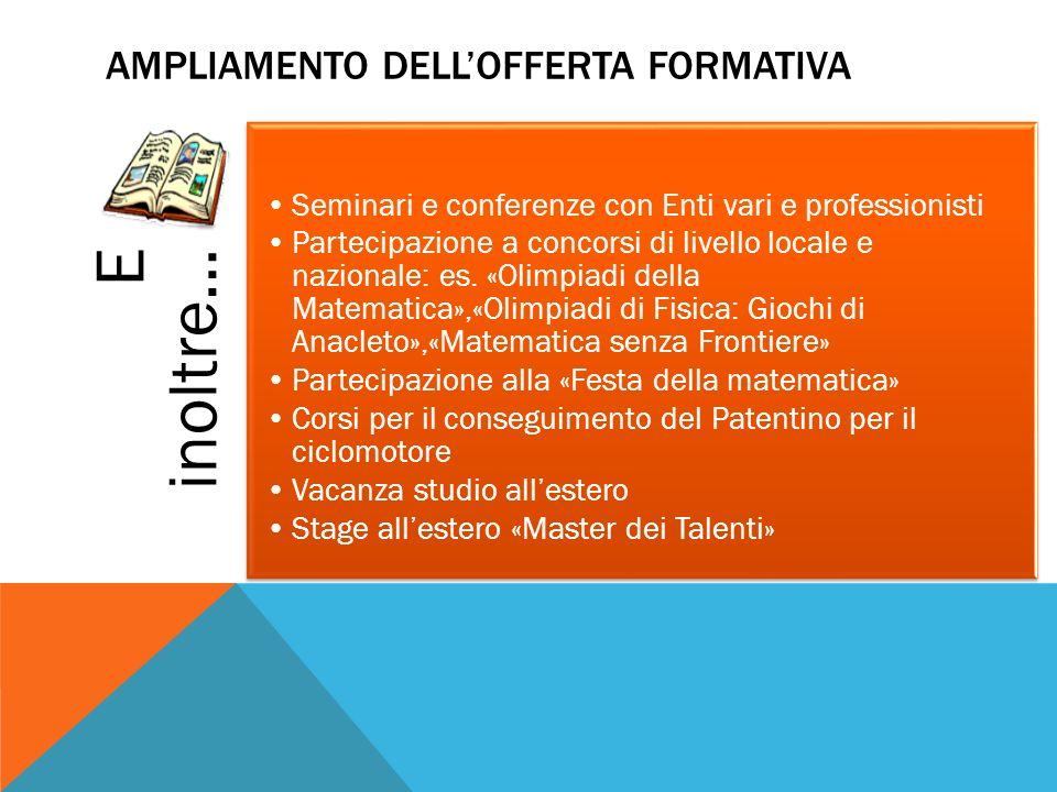 E inoltre… Seminari e conferenze con Enti vari e professionisti Partecipazione a concorsi di livello locale e nazionale: es.