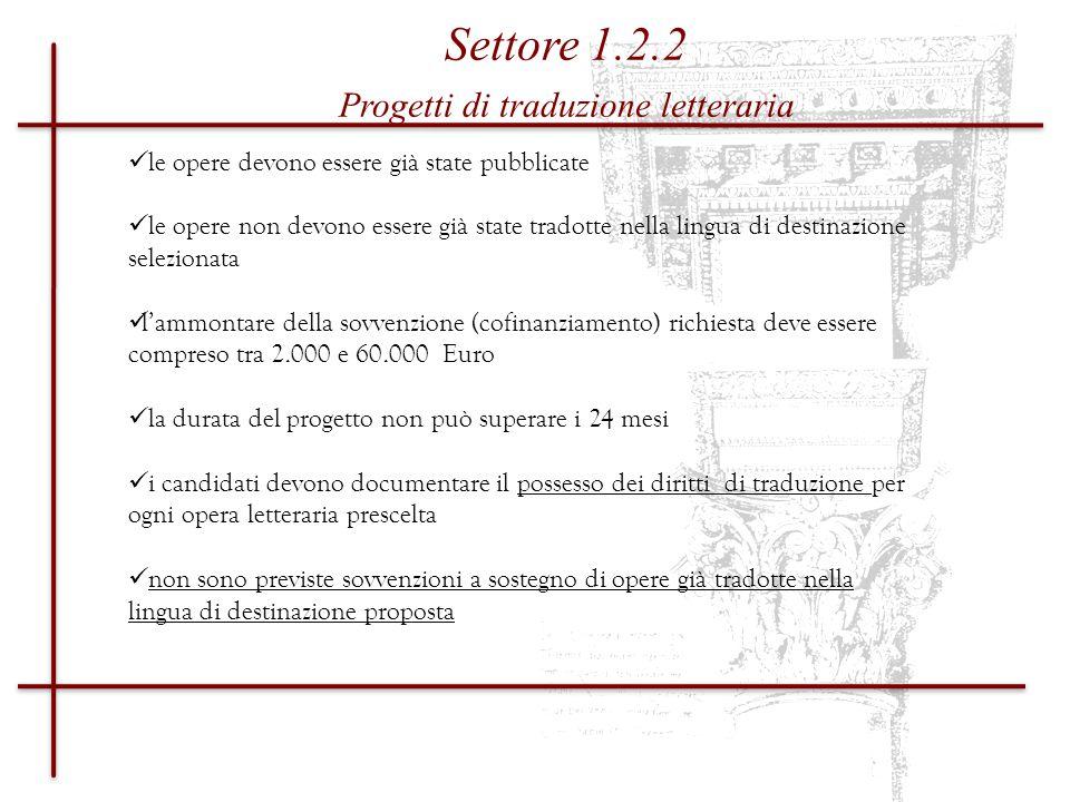 DOCUMENTAZIONE Progetti di traduzione letteraria