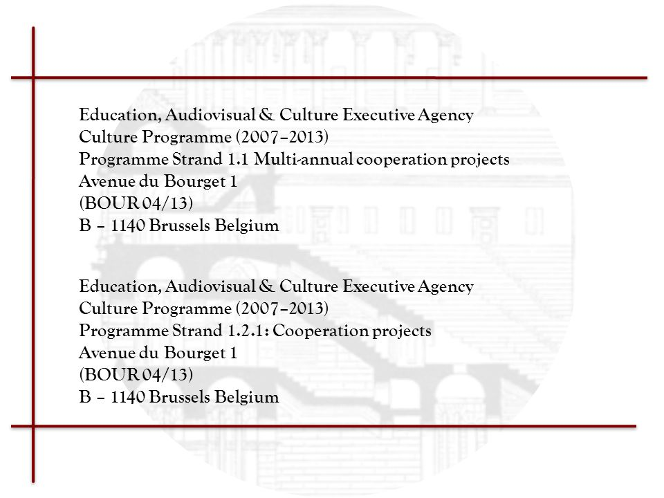 Education, Audiovisual & Culture Executive Agency Culture Programme (2007–2013) Programme Strand 1.1 Multi-annual cooperation projects Avenue du Bourg
