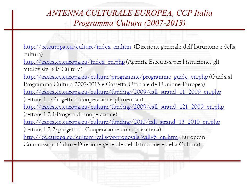 Cultural Contact Point CCP - ITALIA STRUMENTI & WORK PROGRAMME