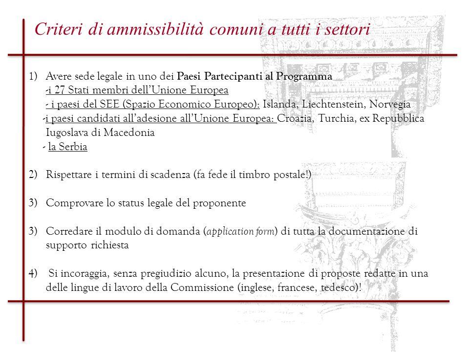 Settore 1.1 & 1.2.1 Progetti di cooperazione pluriennale e progetti di cooperazione (deadline 01.10.2010) OBIETTIVI valorizzare lo spazio culturale condiviso dagli europei per promuovere il senso di cittadinanza europeo