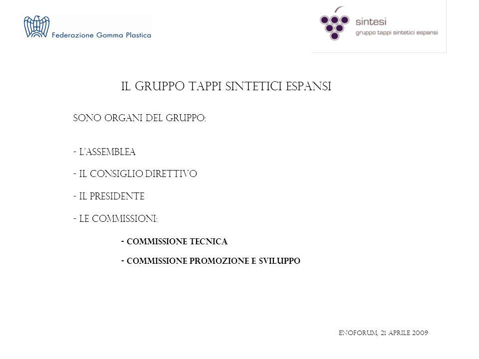 IL GRUPPO TAPPI SINTETICI ESPANSI SONO ORGANI DEL GRUPPO: - LASSEMBLEA - IL CONSIGLIO DIRETTIVO - IL PRESIDENTE - LE COMMISSIONI: - COMMISSIONE TECNICA - COMMISSIONE PROMOZIONE E SVILUPPO ENOFORUM, 21 aprile 2009