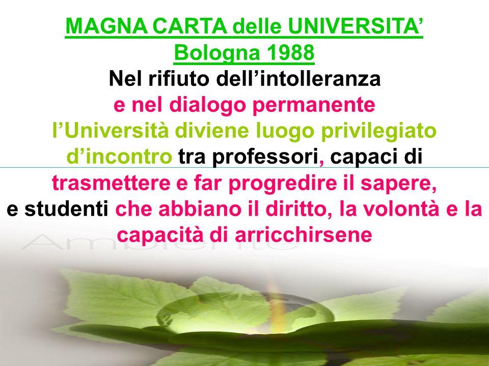 MAGNA CARTA delle UNIVERSITA Bologna 1988 Nel rifiuto dellintolleranza e nel dialogo permanente lUniversità diviene luogo privilegiato dincontro tra professori, capaci di trasmettere e far progredire il sapere, e studenti che abbiano il diritto, la volontà e la capacità di arricchirsene