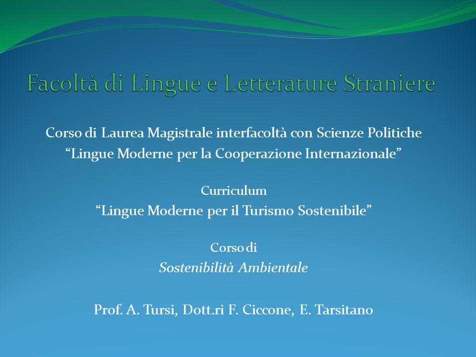Corso di Laurea Magistrale interfacoltà con Scienze Politiche Lingue Moderne per la Cooperazione Internazionale Curriculum Lingue Moderne per il Turismo Sostenibile Corso di Sostenibilità Ambientale Prof.