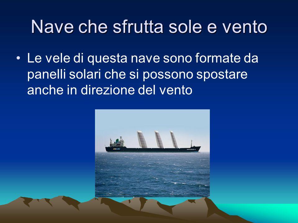 Nave che sfrutta sole e vento Le vele di questa nave sono formate da panelli solari che si possono spostare anche in direzione del vento