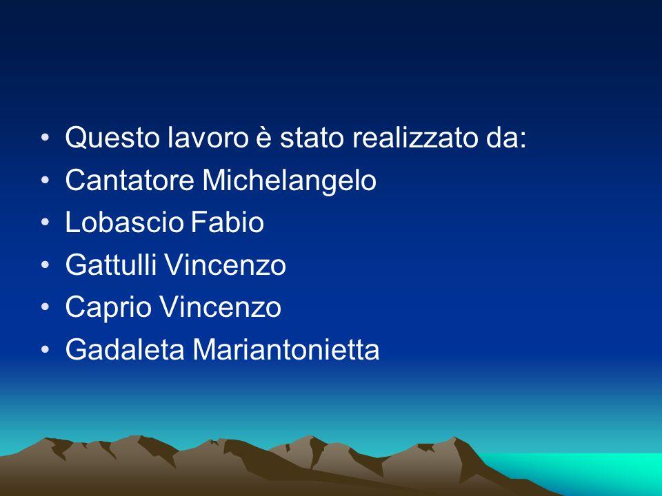 Questo lavoro è stato realizzato da: Cantatore Michelangelo Lobascio Fabio Gattulli Vincenzo Caprio Vincenzo Gadaleta Mariantonietta