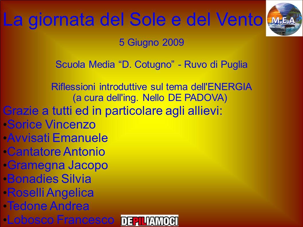 La giornata del Sole e del Vento 5 Giugno 2009 Scuola Media D. Cotugno - Ruvo di Puglia Riflessioni introduttive sul tema dell'ENERGIA (a cura dell'in