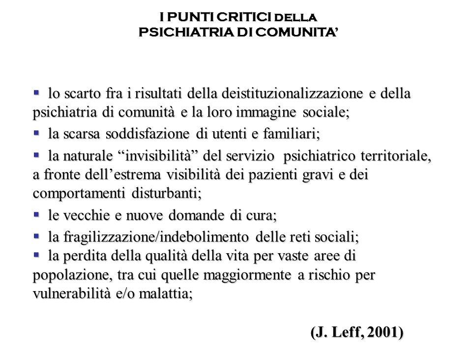 lo scarto fra i risultati della deistituzionalizzazione e della psichiatria di comunità e la loro immagine sociale; lo scarto fra i risultati della de