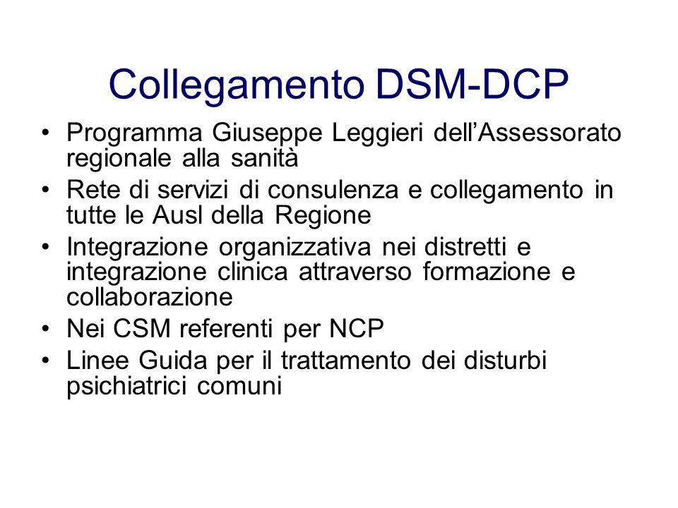 Collegamento DSM-DCP Programma Giuseppe Leggieri dellAssessorato regionale alla sanità Rete di servizi di consulenza e collegamento in tutte le Ausl d